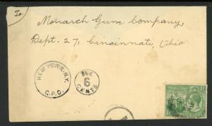 Trin & Tobago  - England to Monarch Gun Co., Cinn Ohio - 6c Due + NY CPO  S852