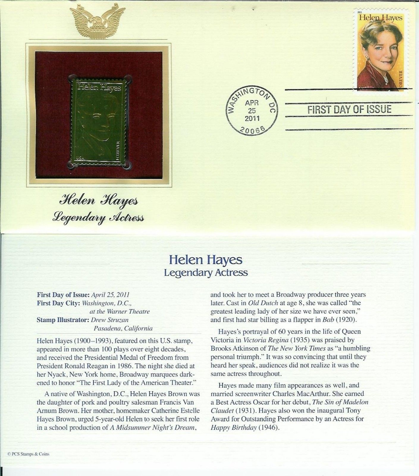 GOLD FOIL 22k FDC Helen Hayes Legendary Actress 1st Lady of American