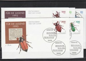 germany 1993 endangered beetles FDC  stamps covers set ref 11715