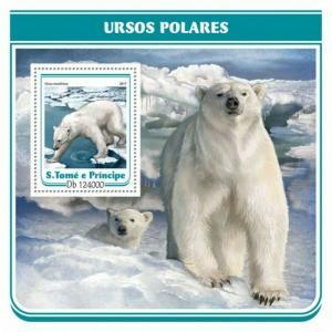 St Thomas - 2017 Polar Bears - Stamp Souvenir Sheet - ST17211b