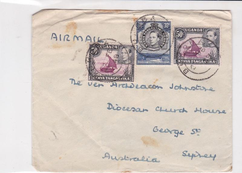 Uganda 1948 to Sydney Australia air mail stamps cover ref 21470