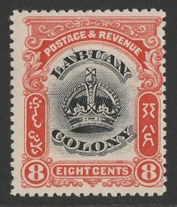 LABUAN : 1902 Crown 8c black & vermilion, variety 'line through B'.