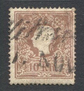 AUSTRIA 1858 10kr brown, Type I, light cancel, Sc CV $24
