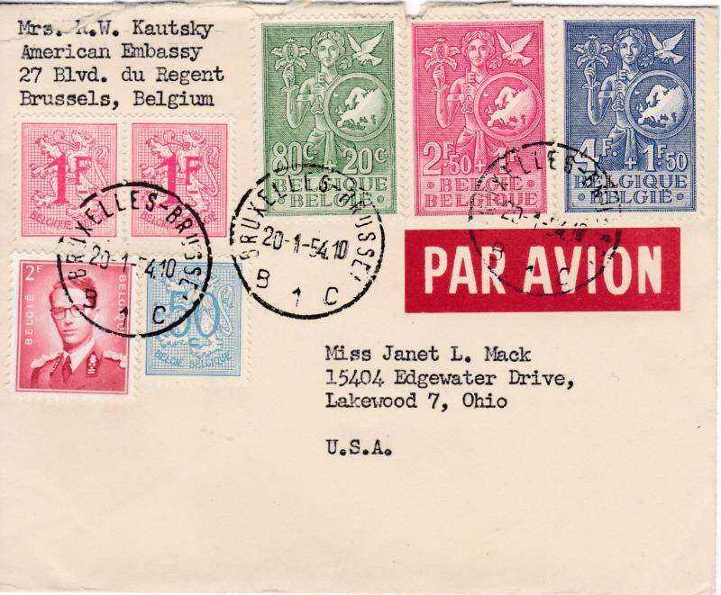 Belgium 1954 Semi-Postal European Youth complete (3) on Cover EUROPA