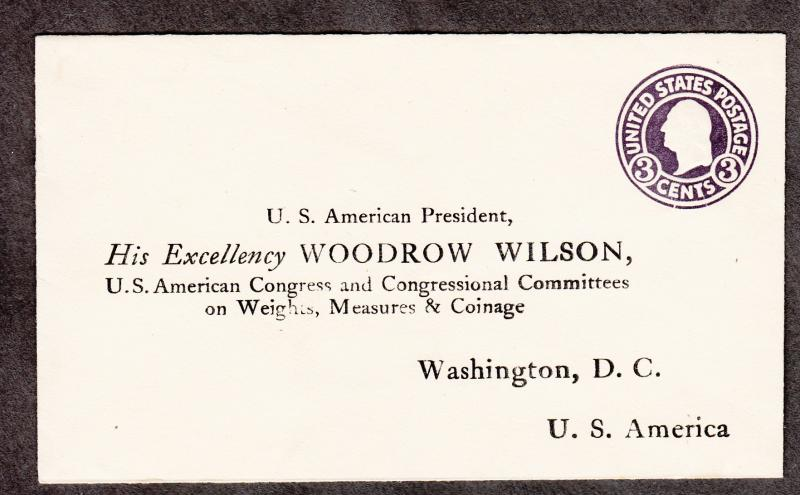 Us Type U93 Woodrow Wilson Preprinted Cover Unused