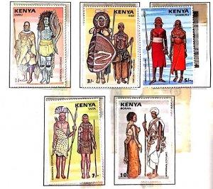 A) 1987, KENYA, CEREMONIAL SUITS: EMBU, KISII, SAMBURU, TAITA, BORAN, MULTICOLOR