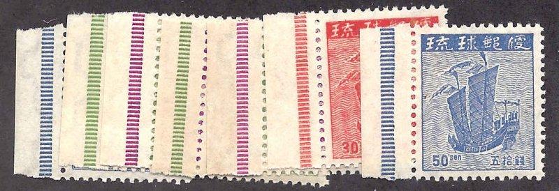 Ryukyu 1-7 Mint,OG,NH... SCV $22.50... All with selvage