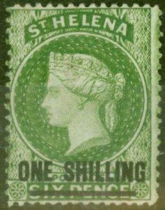 St Helena 1894 1s Yellow-Green SG45 Fine Mtd Mint
