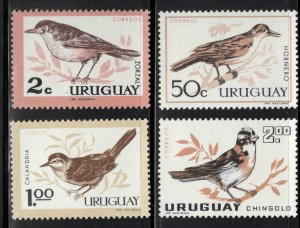 Uruguay Scott 695-698 MNH** 1963 Bird stamp set CV $5.90
