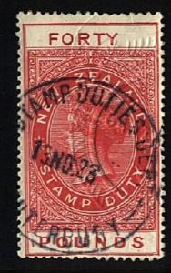 NEW ZEALAND 1880 Stamp Duty £40 11mm FORTY  used...........................22921