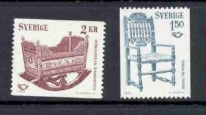 Sweden Sc 1331-32 1980 19th Century Furniture stamp set mint NH