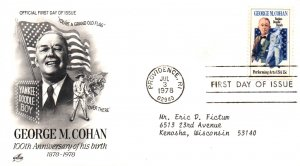 US 1756 George Cohan Artcraft Typed FDC