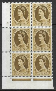 1/- Wilding Violet 9.5mm Phosphor cyl 4 Dot perf F/L UNMOUNTED MINT