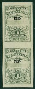 EDW1949SELL : SALVADOR 1915 Scott #414 Imperforated pair. Very Fine, Mint OG.