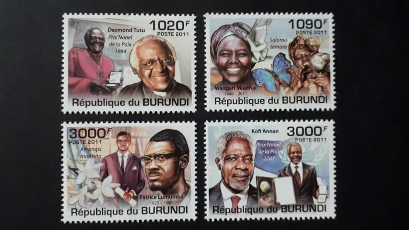 Burundi 2011. -  African personalities ** MNH complete set (perforated)