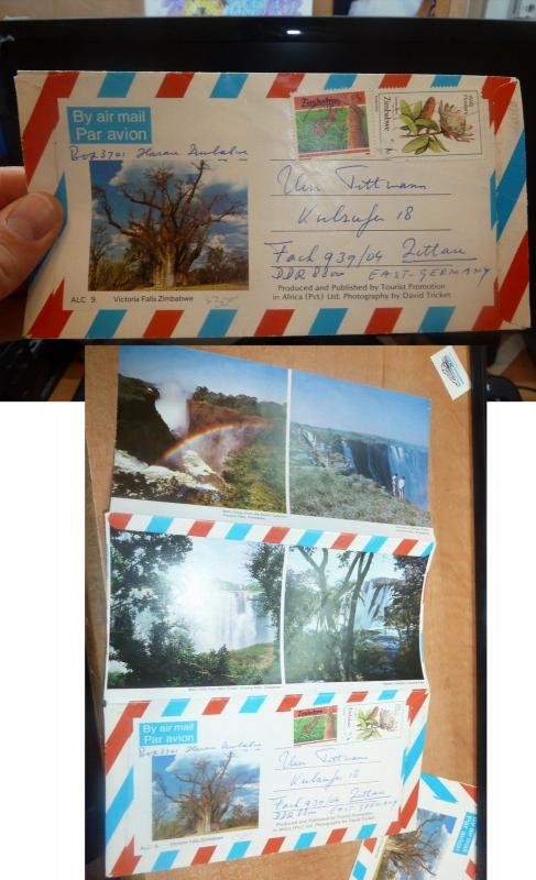 Zimbabwe 2 frank Picture Aerogramme Victoria Falls to E Germany, message (60bee)