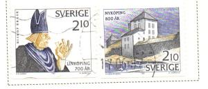 Sweden Sc  1641-2 1987 Medieval Towns stamp set used