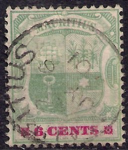 Mauritius 1895 - 99 QV 6ct Green & Rose Red used SG 131 ( F797 )