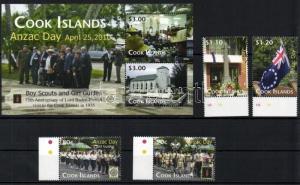 Cook Islands stamp ANZAC - Scout set+block  MNH 2010 Mi 1636-1639 + 220 WS109834
