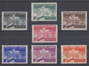 Albania Sc 384-390 MNH. 1946 Balkan Games, complete set, almost VF