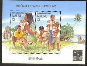 NAURU 1994 HONG KONG 94 Child's Best Friend DOG Souvenir Sheet Sc 409c MNH