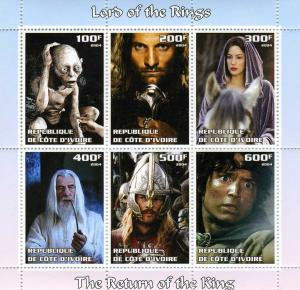 LORD OF THE RINGS Sheet (6v) Perforated Mint (NH)