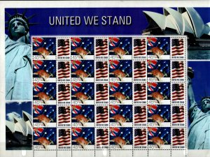 Australia #1832 Sheet of 20 + 20 labels UNITED WE STAND  2000  MNH