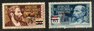 French Equatorial Africa, Scott #126-7 Unused, Hinged