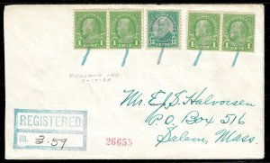 WCstamps: U.S. Loso #541 - 1930 Shamrock Fancy Cancel Reg. Cover, Highland, IN