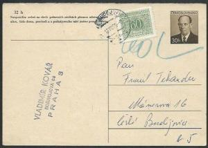 CZECHOSLOVAKIA 1965 30h postcard disallowed with 60h postage due...........61280