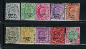 INDIA-CHAMBA- SCOTT #1903-05 EDWARD VII OVERPRINTS MINT LIGHT HINGED