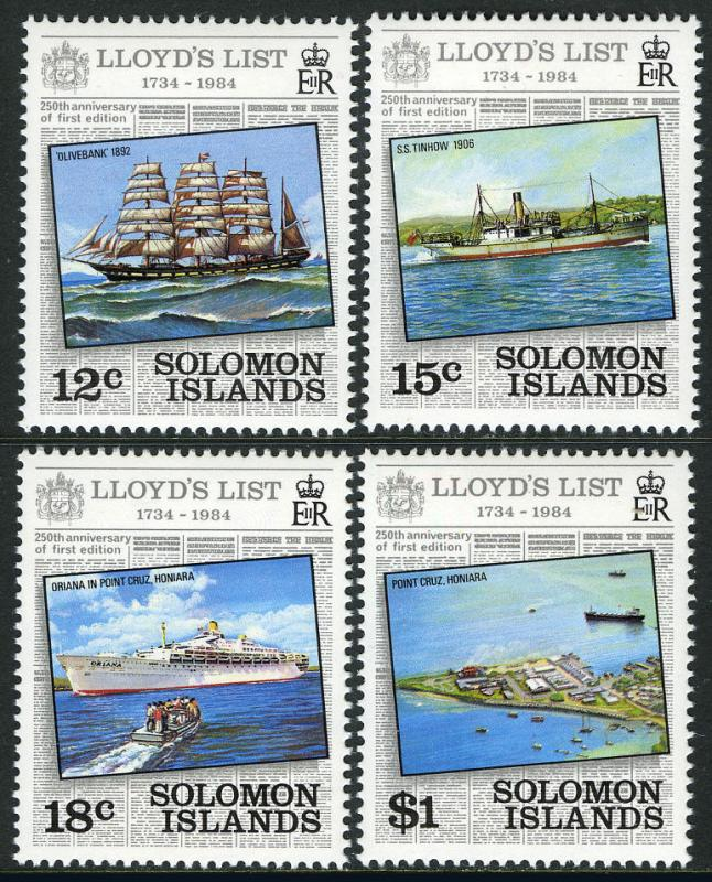 Solomon Islands 521-524, MI 528-531, MNH. Lloyd's List:Ships, 1984
