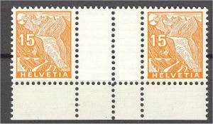 SWITZERLAND, 15 CENTIMES GUTTERPAIR TYPO 1934 VF MNH **!