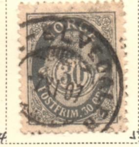 Norway Sc 55 1906 30 ore slate gray Post Horn stamp used