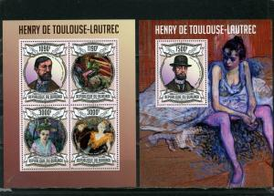 BURUNDI 2012 PAINTINGS BY HENRI TOULOUSE-LAUTREC SHEET OF 4 STAMPS & S/S MNH