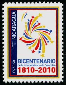 HERRICKSTAMP NICARAGUA Sc.# 2522 Bicentenary of Colombia Independence