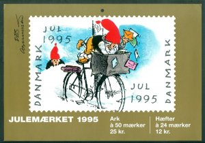 Denmark. Christmas Seal. 1995. 1 Post Office,Display,Advertising Sign. Mail Bike