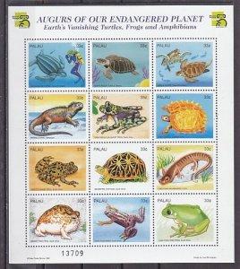 Palau, Scott cat. 495 a-l. Endangered Species sheet. ^