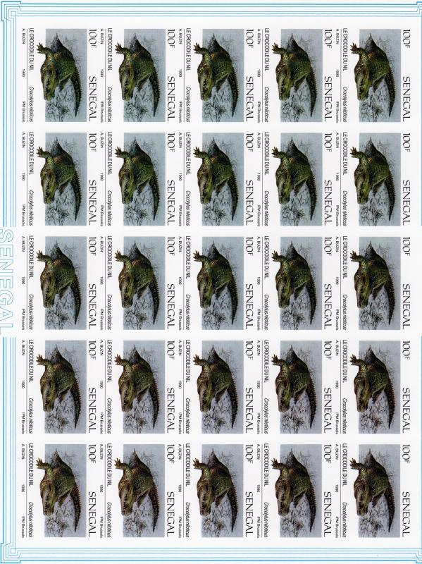 Senegal 1991 Sc#914/917  Reptiles Mini-Sheetlet of 25 Imperforated !!!