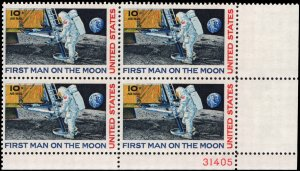 US #C76 10¢ MOON LANDING MNH LR PLATE BLOCK #31405 DURLAND $1.25