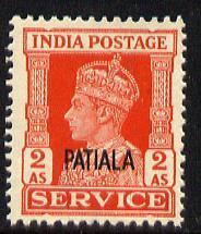 Indian States - Patiala 1939-44 KG6 Official 2a vermilion...