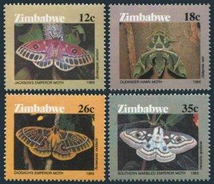 Zimbabwe 529-532,MNH.Michel 344-347. Moths 1986.