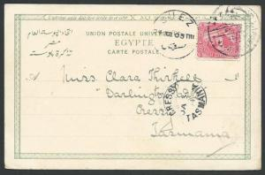 EGYPT TO TASMANIA 1903 Postcard, to Cressy with arrival cds................59607