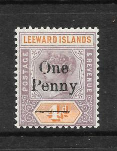 LEEWARD ISLANDS 1902  1d on 4d   QV    MLH   SG 17