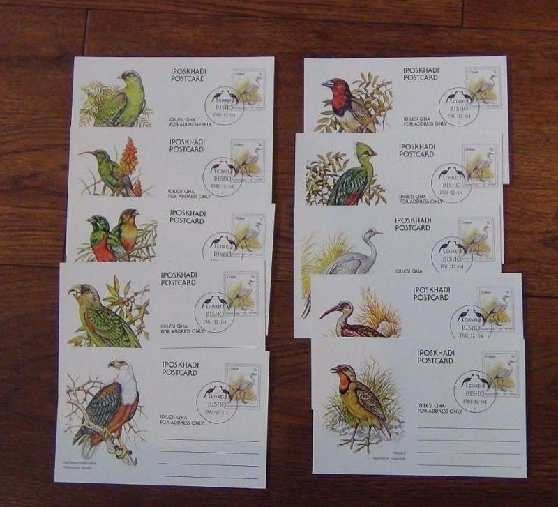 Ciskei 1981 Birds Used on postcards all with Bisho postmark