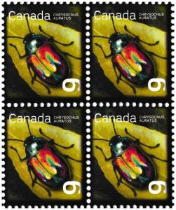 Canada 2410 Beneficial Insects Dogbane Beetle 9c block (4 stamps) MNH 2010