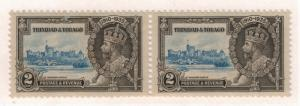 Silver Jubilee Pair, One w/ Extra Flagstaff Error, Trinidad and Tobago Stam...