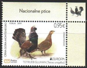 Montenegro. 2019. 431. Birds, Europe sept. MNH.