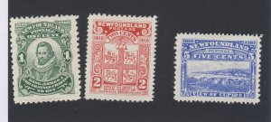 3x Newfoundland Mint Stamps; #87-1c VF #88-2c VF #91-5c F/VF Guide Value= $45.00