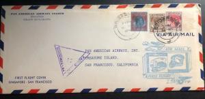 1941 Singapore Malaya First Flight Censored cover FFC To San Francisco Ca USA